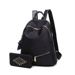 SUOAI - Set: Canvas Backpack + Studded Wallet
