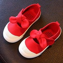 Luco - Kids Bow Accent Velcro Flats