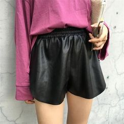 Tiny Times - Faux Leather Wide Leg Shorts