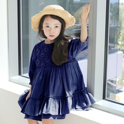 Cuckoo - Kids Lace Panel Long-Sleeve Dress