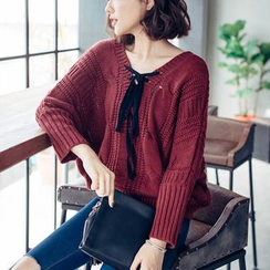 Tokyo Fashion - Tie-Up Cable-Knit Sweater