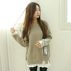 Dodostyle - Distressed Round-Neck Knit Top