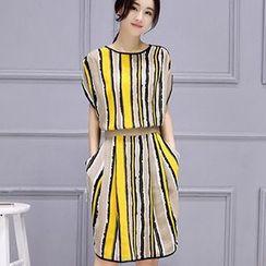 Ashlee - Striped Gathered Waist Chiffon Dress