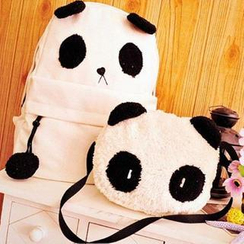 TAIPEI STAR - Set: Canvas Panda Backpack + Panda Shoulder Bag