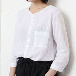 Raisin - Pocketed 3/4 Sleeve Long Sleeve Top