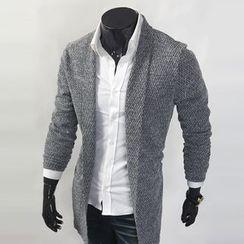 WIZIKOREA - Shawl-Collar Long Cardigan