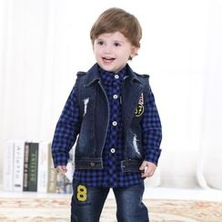KUBEBI - Kids Set: Denim Vest + Gingham Shirt + Jeans