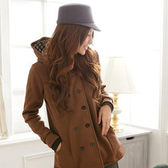 RingBear - 雙排釦連帽素面厚刷毛短大衣