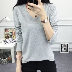 Ukiyo - Plain V-neck Long-Sleeve T-shirt