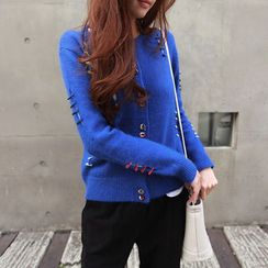 NIPONJJUYA - Safety Pin-Trim Wool Blend Cardigan
