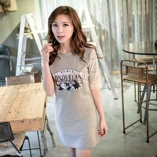 Lucky Leaf - Lace-Sleeve Printed Long T-Shirt