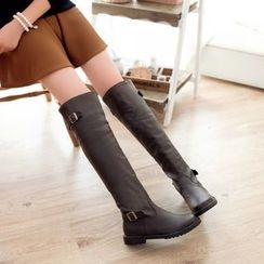 Pretty in Boots - Faux Leather Over The Knee Boots