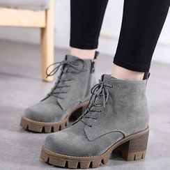 Monde - Block Heel Lace-Up Short Boots