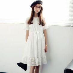 SUYISODA - Drawstring Waist Lace Short-Sleeve Dress