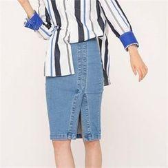 MAGJAY - High-Waist Slit-Front Denim Skirt
