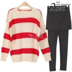 Ho Shop - Set: Drop-Shoulder Stripe Knit Top + Inset Skirt Leggings