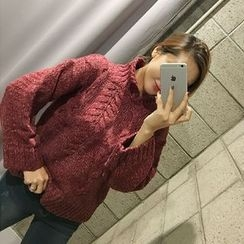 STYLEBYYAM - High-Neck Cable-Knit Top