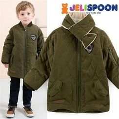 JELISPOON - Boys Quilted Zip-Up Jacket with Scarf