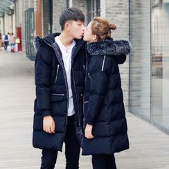 Simpair - Couple Matching Furry Trim Long Padded Jacket