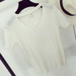 Honeydew - Short Sleeve Cutout Knit Top