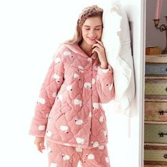 Mydream - Pajama Set: Printed Coral Fleece Shirt + Pants