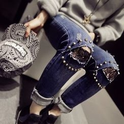 Kojasmine - Washed Distressed Studded Slim-Fit Jeans