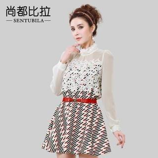 Sentubila - Sheer-Panel Patterned Chiffon Dress