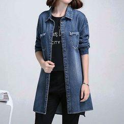 Fashion Street - Long Denim Blouse