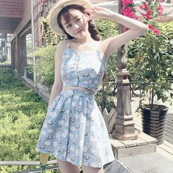Cattie - Set: Floral Print Buttoned Cropped Camisole Top + A-Line Skirt
