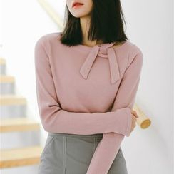 SUYISODA - Tie-Neck Long-Sleeve Knit Top