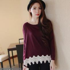 Tokyo Fashion - Long-Sleeve Crochet-Trim Top