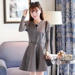 Ashlee - Knit Sleeve V-Neck A-Line Dress