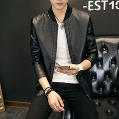EVAMORE - Faux Leather Zip Jacket