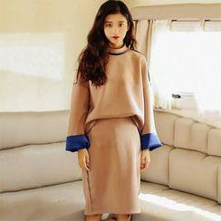 Clair Fashion - 韩版半高领撞色袖高腰半身裙两件套