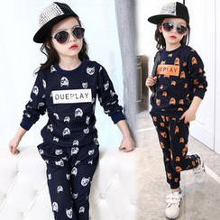 Pegasus - Kids Set: Bear Letter Pullover + Sweatpants