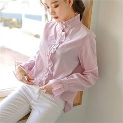 Styleberry - Frill-Trim Stripe Shirt