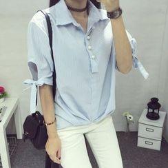 CHIH - 蝴蝶结短袖衬衫