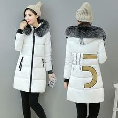 Angel Love - Furry Trim Hooded Padded Coat