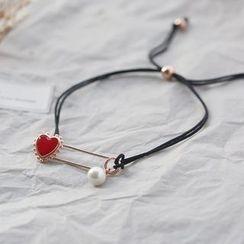 Love Generation - Heart Safety Pin Bracelet