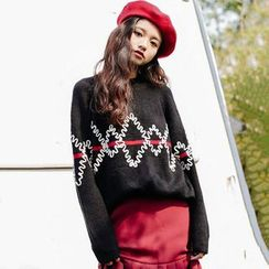 Clair Fashion - 韩版刺绣撞色半高领圆领套头毛衣