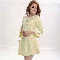 Fashion Street - Set: 3/4-Sleeve Blouse + A-Line Skirt