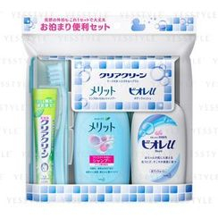 Kao - Clear Clean Portable Bedding Set: Toothpaste 17g + Toothbrush x 1 + Body Wash 90ml + Shampoo 80ml