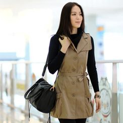 59th Street - Sleeveless Trench Coat with Sash