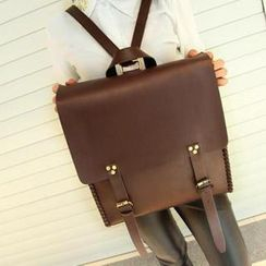 TAIPEI STAR - Belted Faux-Leather Backpack