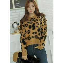 REDOPIN - Round-Neck Leopard Knit Top
