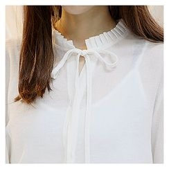 Sechuna - Frill-Neck Tie-Front Top