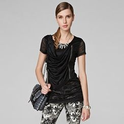 O.SA - Side-Zip Draped-Front Top
