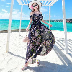 Morning Dew - Floral Print Cold Shoulder Maxi Sundress