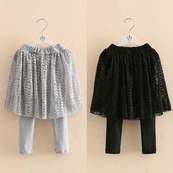 Seashells Kids - Kids Inset Lace Skirt Leggings