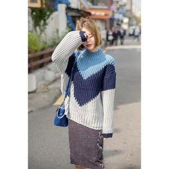 migunstyle - Mock-Neck Color-Block Knit Top